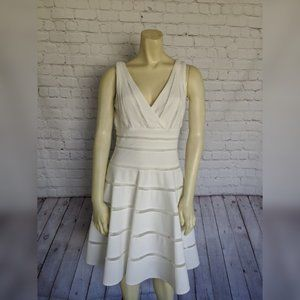 JS COLLECTION 8 White Mesh Fit & Flare Dress
